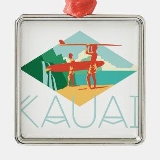Kauai Surfers Zilverkleurig Vierkant Ornament