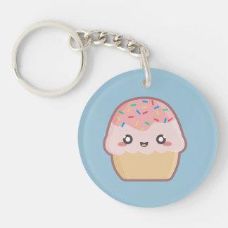 Kawaii cupcake 1-Zijde rond acryl sleutelhanger
