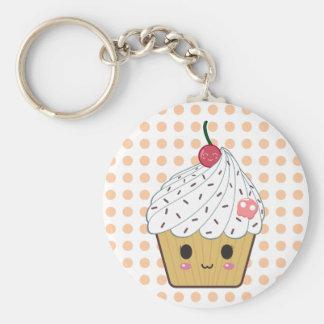 Kawaii Cupcake in Stippen Basic Ronde Button Sleutelhanger