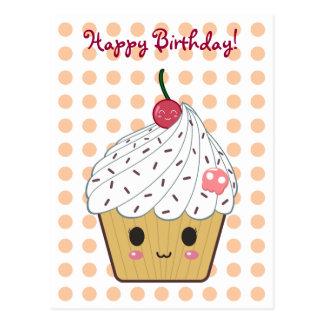 """Kawaii Cupcake in Stippen """"Gelukkige Verjaardag """" Briefkaart"""