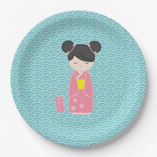 Kawaii Roze Kokeshi Papieren Bordje