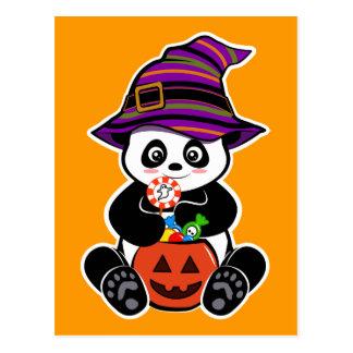 KawaiiPanda van Halloween met snoepjes Briefkaart
