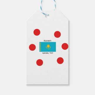 Kazakh Taal en Ontwerp van de Vlag van Kazachstan Cadeaulabel