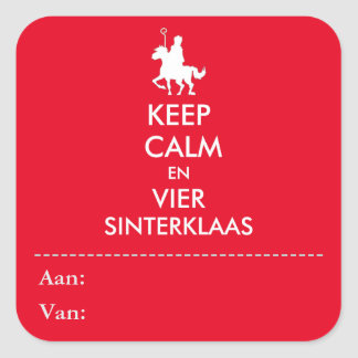 Keep Calm en Vier Sinterklaas Sticker vierkant