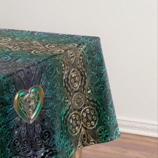 Keltisch Hart Mandala in Groen en Origineel Goud Tafelkleed