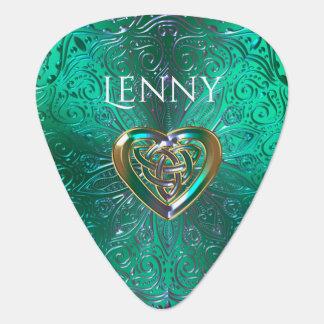 Keltisch Hart Mandala in Groen Goud Gitaar Plectrums 0