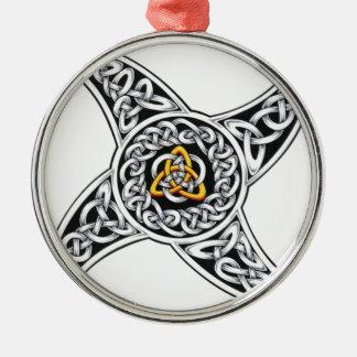Keltisch-strijders symbool zilverkleurig rond ornament