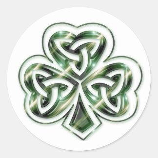 Keltische Klaver:: De groene RuimteStickers van Ronde Sticker