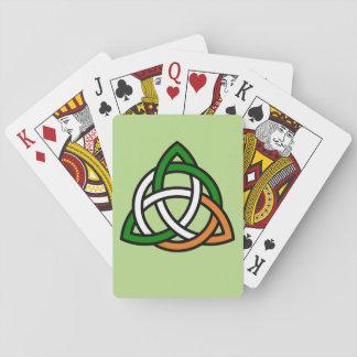 Keltische Knoop in Groen Sinaasappel en Wit Speelkaarten