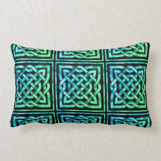 Keltische Knoop - Vierkante Blauwgroen Lumbar Kussen