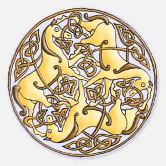 Keltische paarden en knopen in cirkel ronde sticker