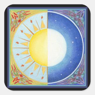 Keltische Zon Equinox en Maan Vierkant Stickers