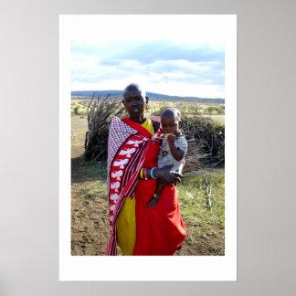 KENIAANSE MOEDER EN BABY IN KENIA POSTER