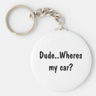 Kerel. Wheres mijn auto? Basic Ronde Button Sleutelhanger