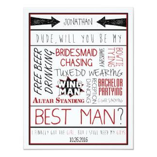 Kerel, zult u mijn Getuige zijn? Rode/Zwarte 10,8x13,9 Uitnodiging Kaart