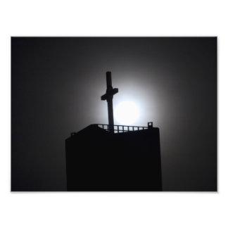kerk toren en maan foto print