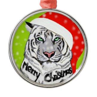 Kerst tijger zilverkleurig rond ornament