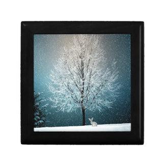 Kerstbomen bij Nacht Decoratiedoosje