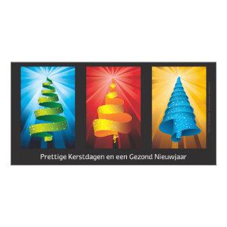 kerstbomen gemaakt van lint kaart