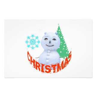 Kerstboom en Sneeuwman Foto