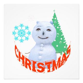 Kerstboom en Sneeuwman Fotoafdruk