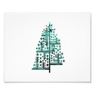 Kerstboom groen van vormen gevlekte blue.png fotografische afdruk