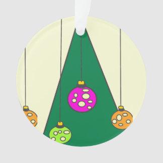Kerstboom met bollen op lichtgeele XMAS14 Ornament