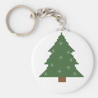 Kerstboom met sterren basic ronde button sleutelhanger