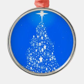 Kerstboom van de Sneeuwvlok van de ster Spangled Zilverkleurig Rond Ornament
