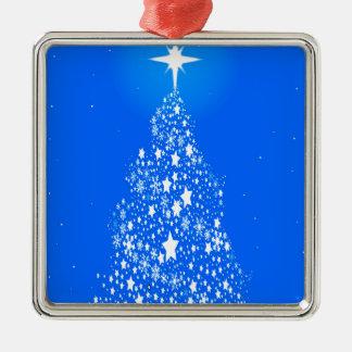 Kerstboom van de Sneeuwvlok van de ster Spangled Zilverkleurig Vierkant Ornament
