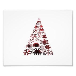 Kerstboom van Sneeuwvlokken Groene Gevlekte red.pn Foto Kunst