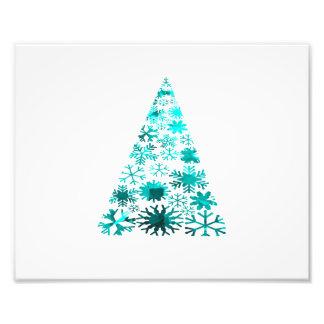 Kerstboom van Sneeuwvlokken Groene Gevlekte teal p Foto Print