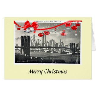 Kerstkaart - de Brug van Brooklyn, de Stad van New Briefkaarten 0