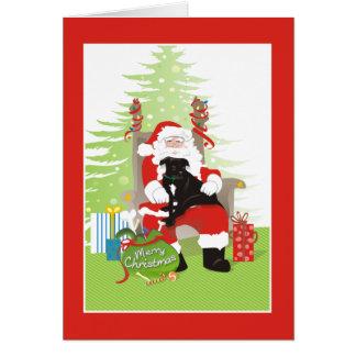 Kerstkaart - de Zwarte Hond van de Stier van de Wenskaart