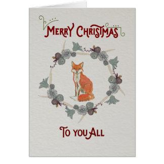 Kerstkaart die een vos kenmerken briefkaarten 0