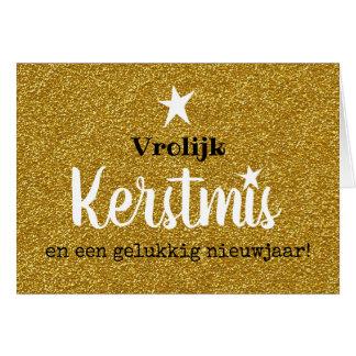 Kerstkaart glitter en glamour goud ster kaart