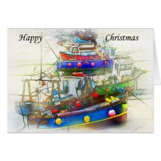 Kerstkaart van boten kaart