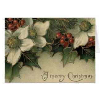 Kerstkaart van de Poinsettia van de Victoriaans Kaart