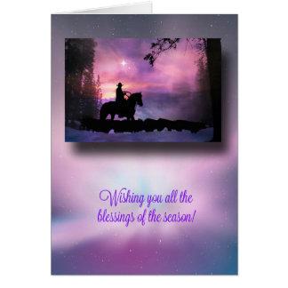 Kerstkaart van de Zegen van het Land van de cowboy Kaart