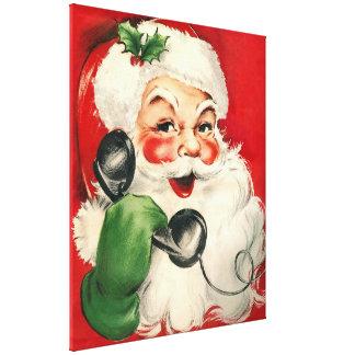 Kerstman bij de Telefoon Canvas Print