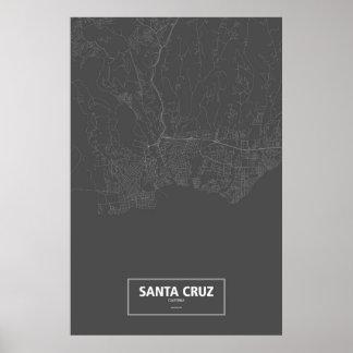 Kerstman Cruz, wit Californië (op zwarte) Poster