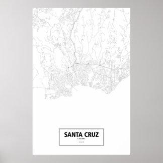 Kerstman Cruz, zwart Californië (op wit) Poster