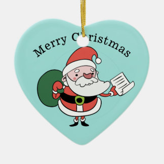 Kerstman & de douaneornament van Mevr. Claus Keramisch Hart Ornament