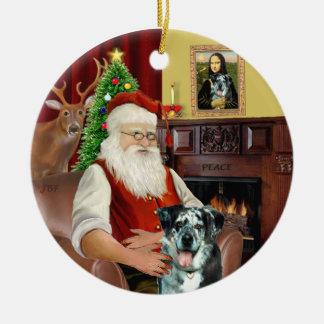 Kerstman - de Hond van de Luipaard Catahoula Rond Keramisch Ornament