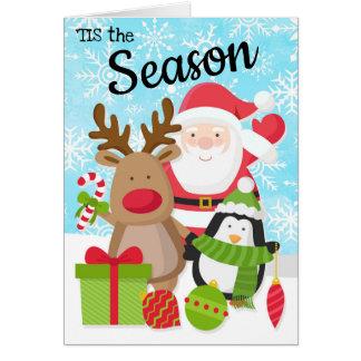 Kerstman, de Kerstkaart van het Rendier en van de Kaart