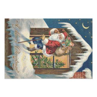 Kerstman die de Kerstboom van het Huis verlaten Foto Prints