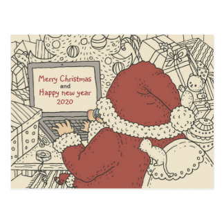 Kerstman die de Wensen van de Vakantie op Laptop Briefkaart