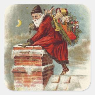 Kerstman die onderaan de schoorsteen gaan vierkante sticker