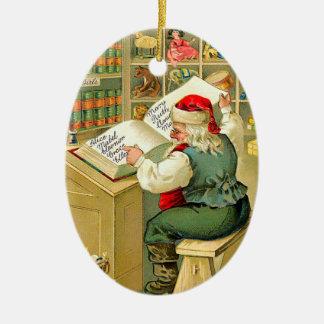 Kerstman die Zijn Lijst controleren Keramisch Ovaal Ornament