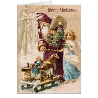Kerstman en de Vintage Kerstkaart van de Engel Wenskaart